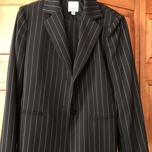 Women's pant suit -Black with white pin stripes